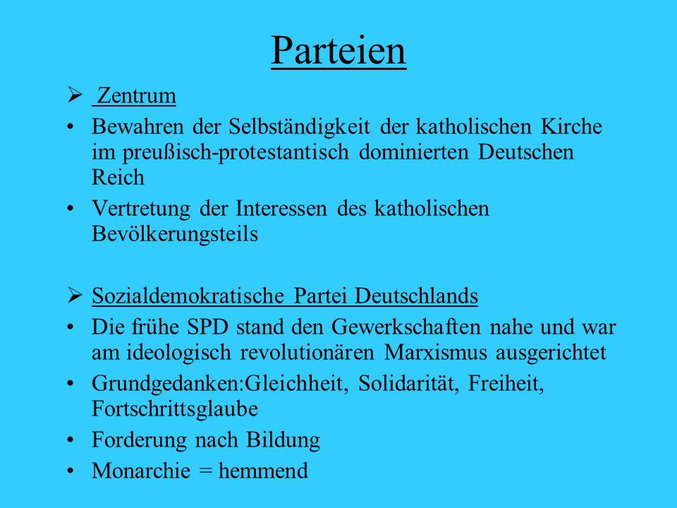 Parteien Zentrum. Bewahren der Selbständigkeit der katholischen Kirche im preußisch-protestantisch dominierten Deutschen Reich.