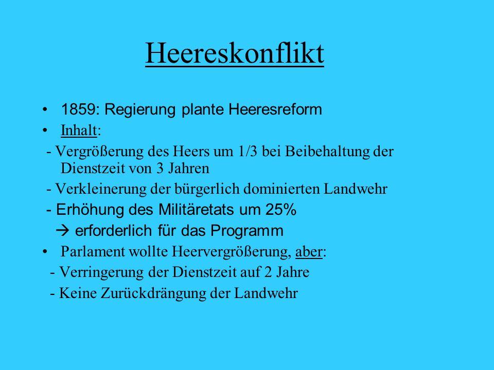 Heereskonflikt 1859: Regierung plante Heeresreform Inhalt: