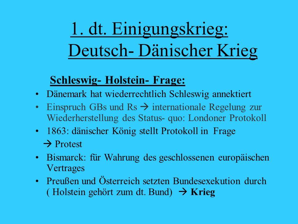 1. dt. Einigungskrieg: Deutsch- Dänischer Krieg