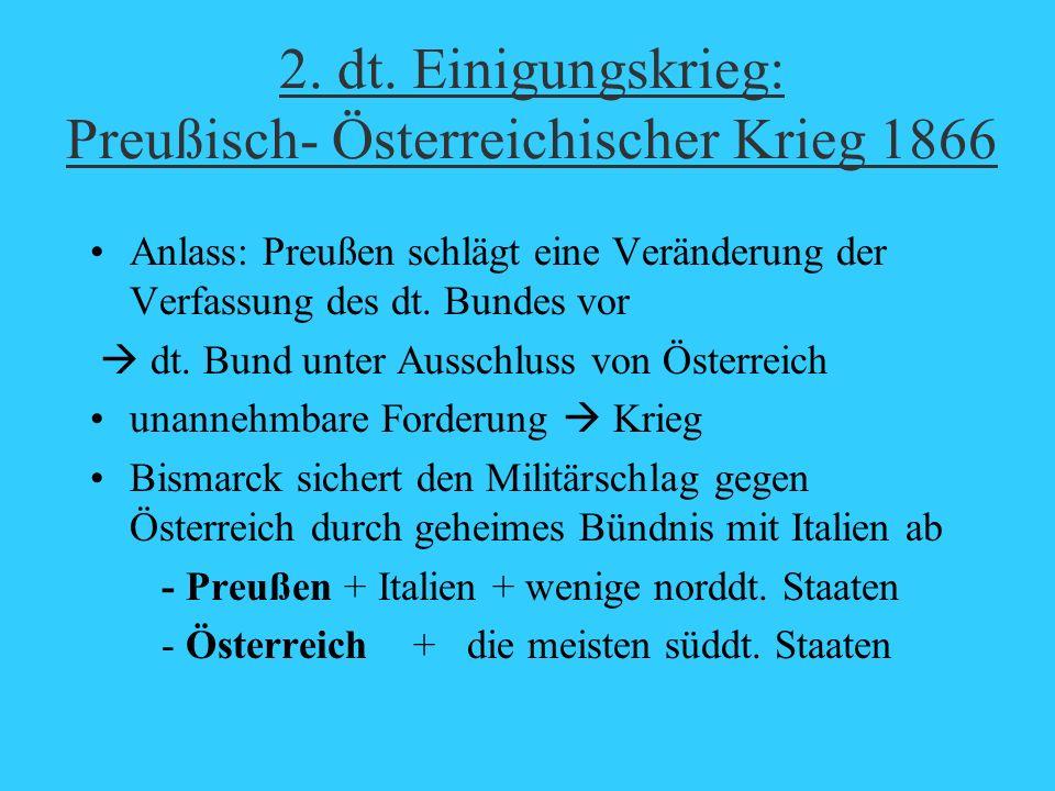2. dt. Einigungskrieg: Preußisch- Österreichischer Krieg 1866