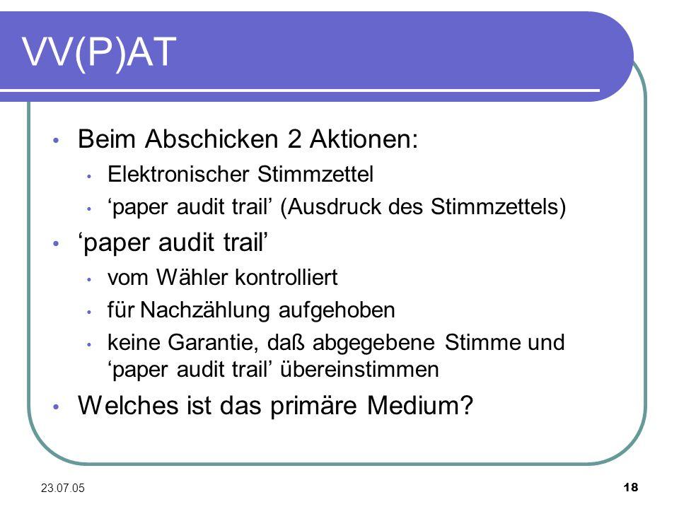 VV(P)AT Beim Abschicken 2 Aktionen: 'paper audit trail'