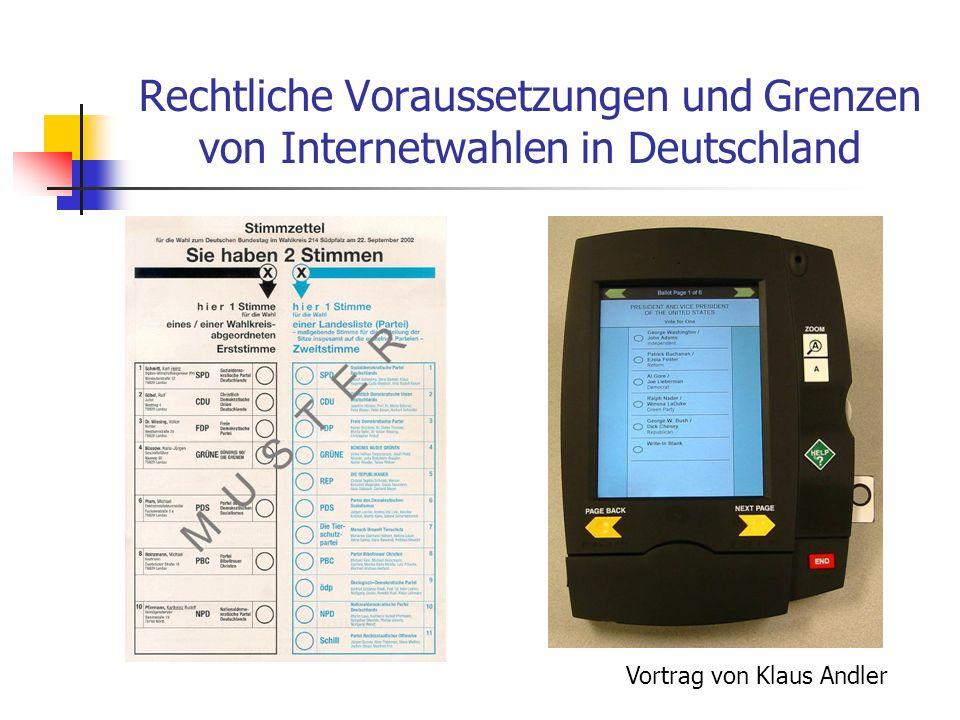 Rechtliche Voraussetzungen und Grenzen von Internetwahlen in Deutschland