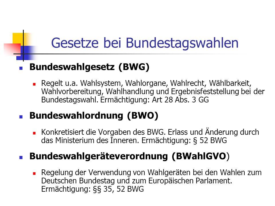 Gesetze bei Bundestagswahlen
