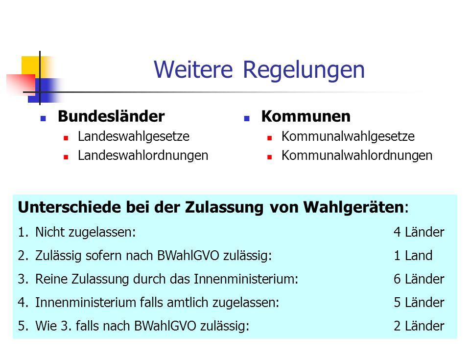 Weitere Regelungen Bundesländer Kommunen