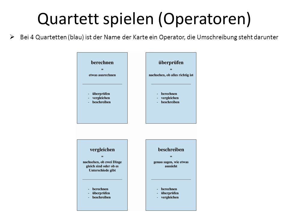 Quartett spielen (Operatoren)