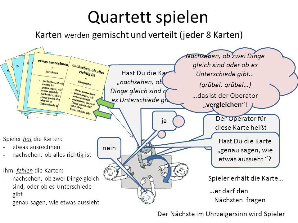 Quartett spielen Karten werden gemischt und verteilt (jeder 8 Karten)