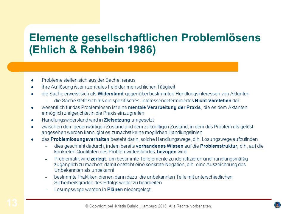 Elemente gesellschaftlichen Problemlösens (Ehlich & Rehbein 1986)