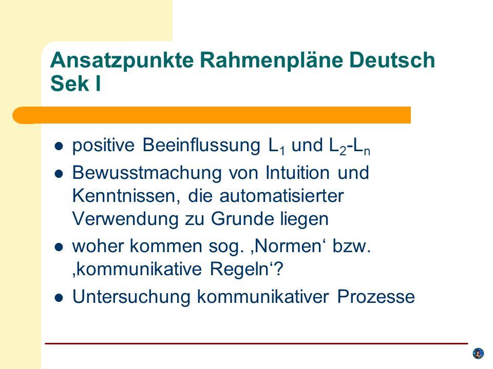 Ansatzpunkte Rahmenpläne Deutsch Sek I