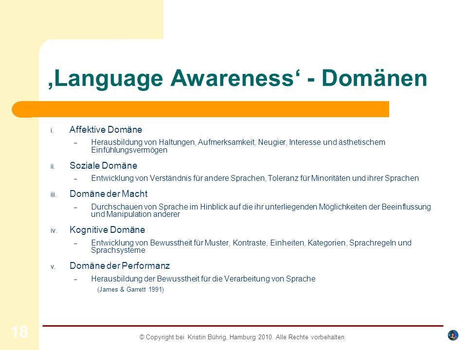 'Language Awareness' - Domänen