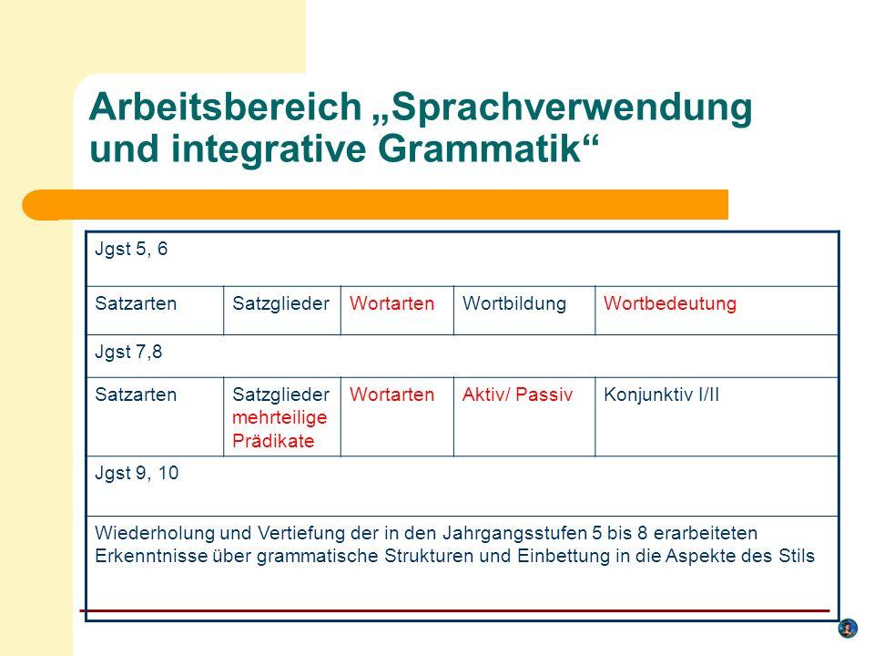 """Arbeitsbereich """"Sprachverwendung und integrative Grammatik"""