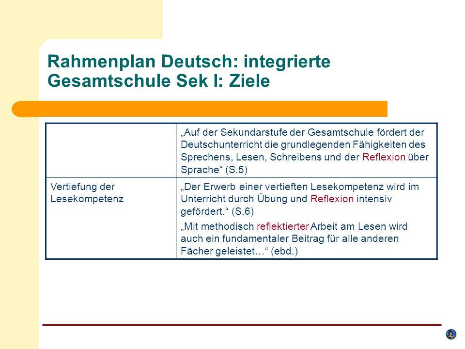 Rahmenplan Deutsch: integrierte Gesamtschule Sek I: Ziele