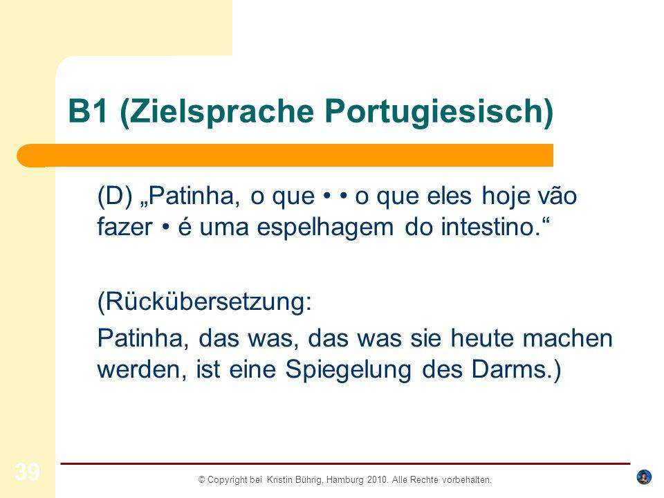 B1 (Zielsprache Portugiesisch)