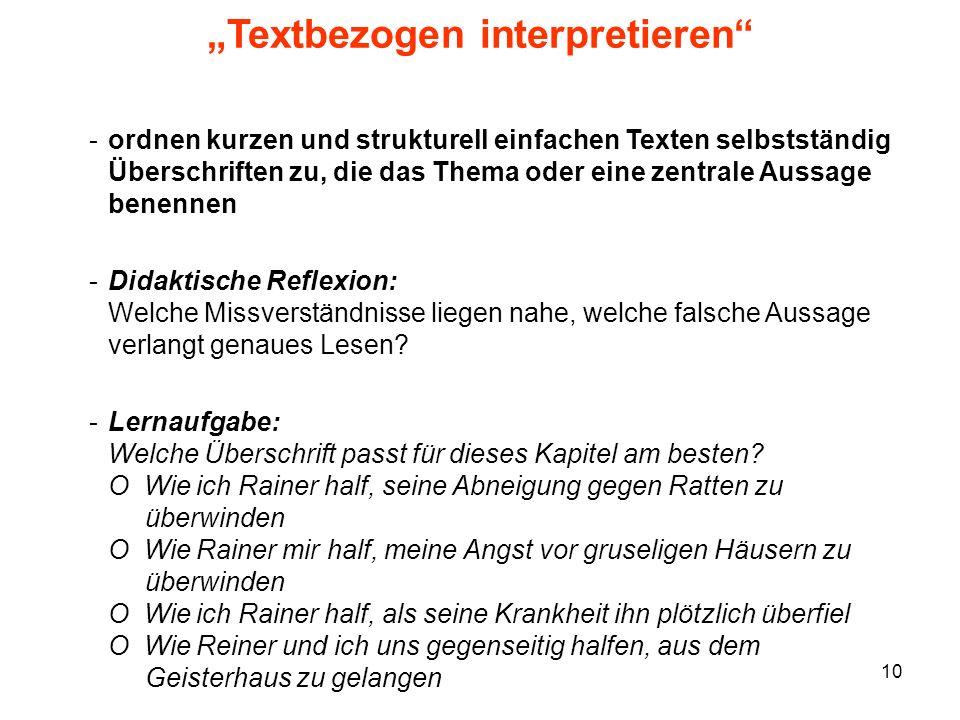"""""""Textbezogen interpretieren"""