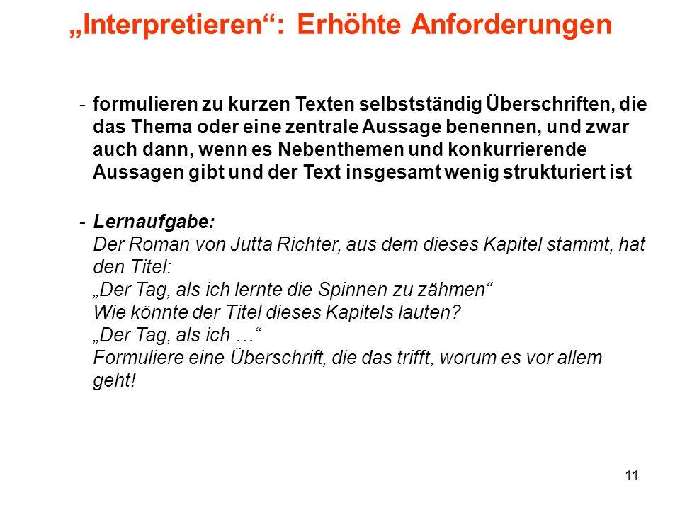 """""""Interpretieren : Erhöhte Anforderungen"""