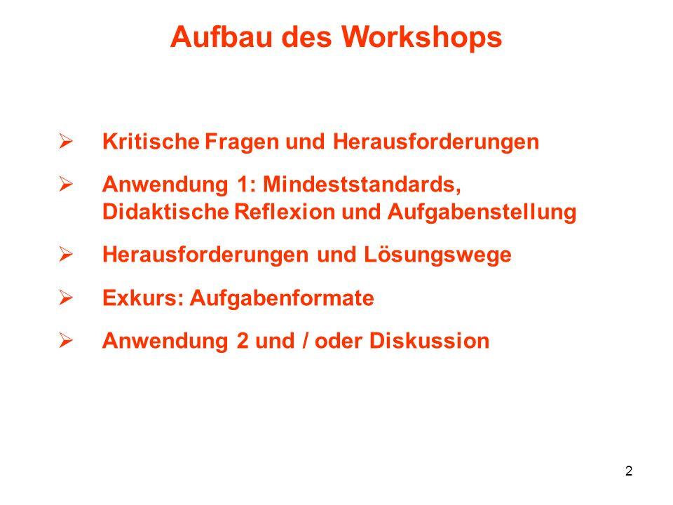 Aufbau des Workshops Kritische Fragen und Herausforderungen