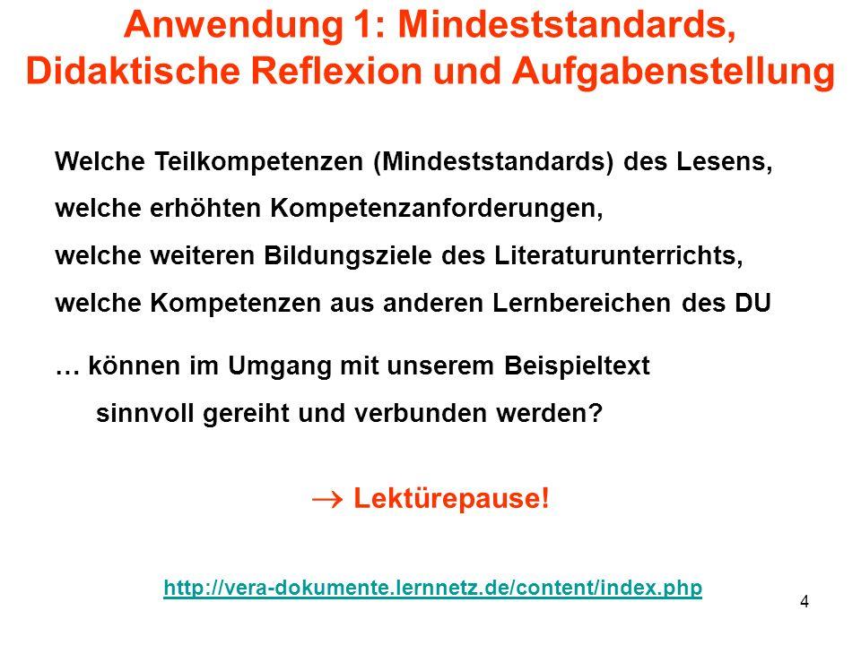 Anwendung 1: Mindeststandards, Didaktische Reflexion und Aufgabenstellung