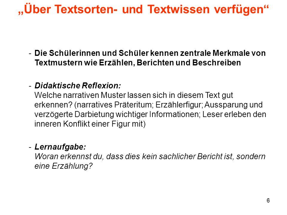 """""""Über Textsorten- und Textwissen verfügen"""