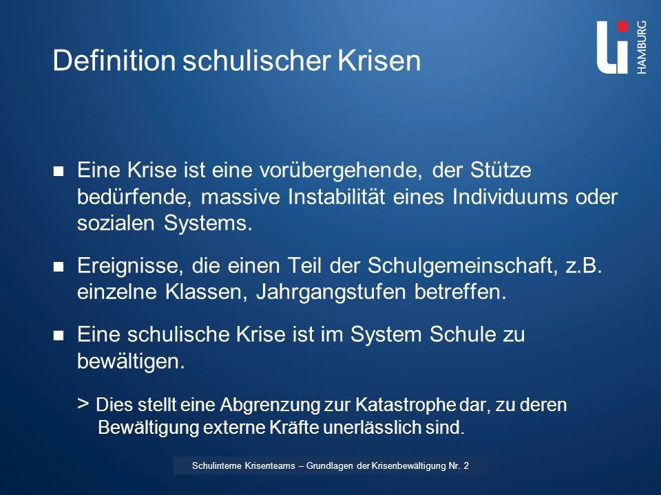 Definition schulischer Krisen