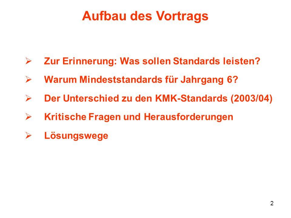 Aufbau des Vortrags Zur Erinnerung: Was sollen Standards leisten