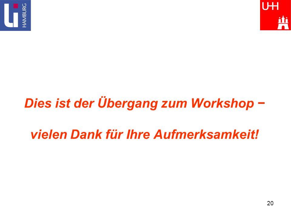 Dies ist der Übergang zum Workshop − vielen Dank für Ihre Aufmerksamkeit!