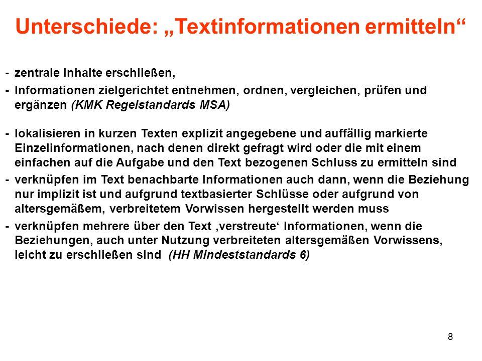 """Unterschiede: """"Textinformationen ermitteln"""