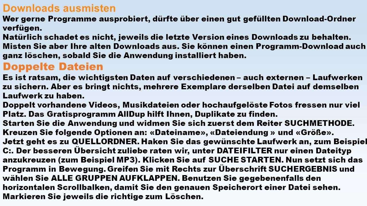 Downloads ausmisten Doppelte Dateien