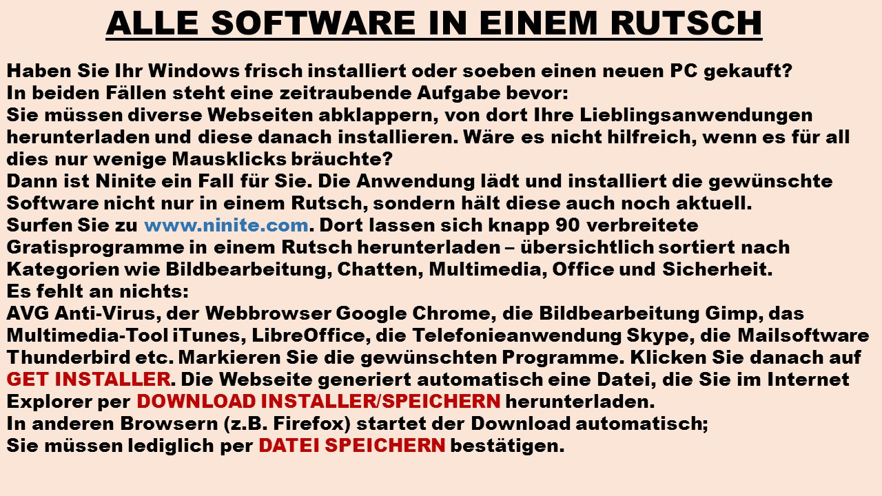 ALLE SOFTWARE IN EINEM RUTSCH
