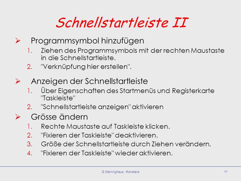 Schnellstartleiste II