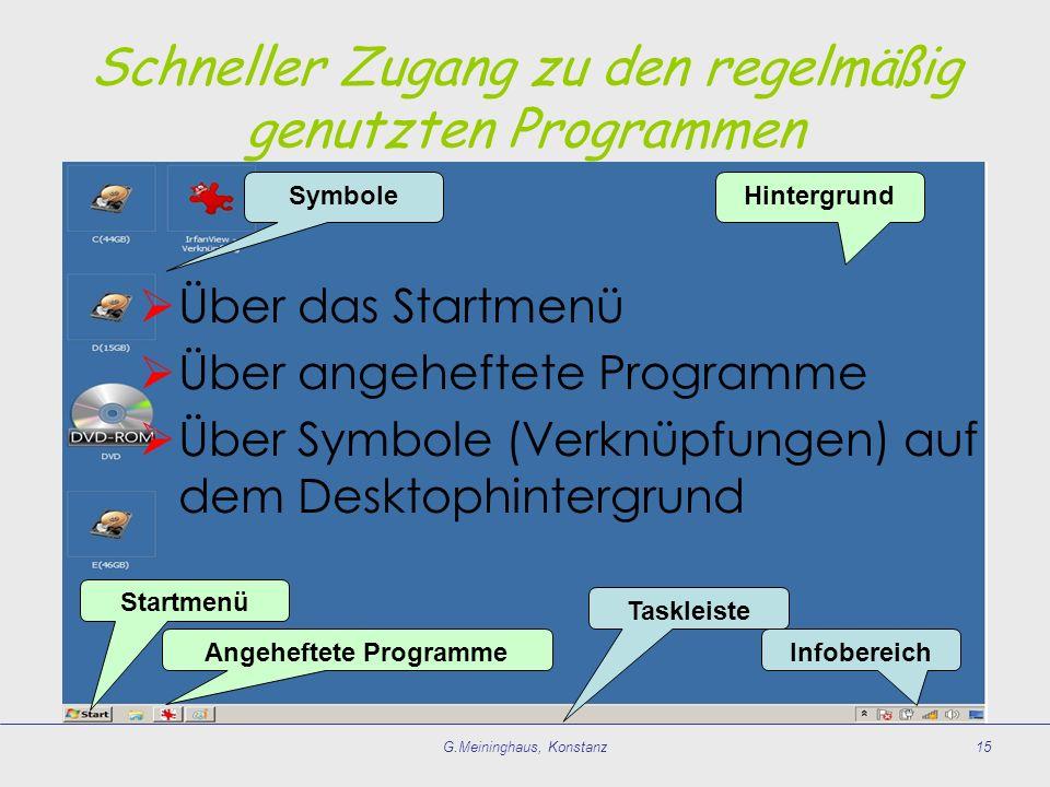 Schneller Zugang zu den regelmäßig genutzten Programmen