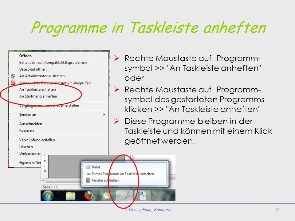 Programme in Taskleiste anheften