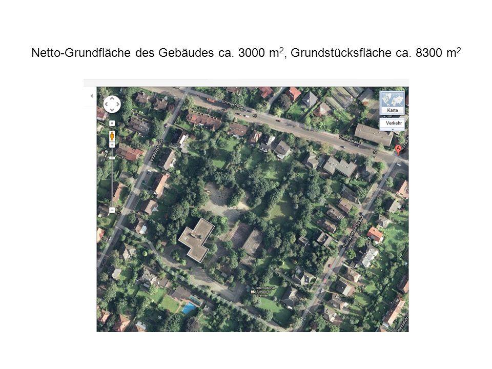Netto-Grundfläche des Gebäudes ca. 3000 m2, Grundstücksfläche ca