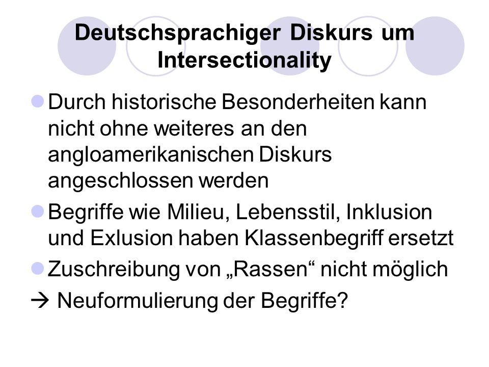 Deutschsprachiger Diskurs um Intersectionality