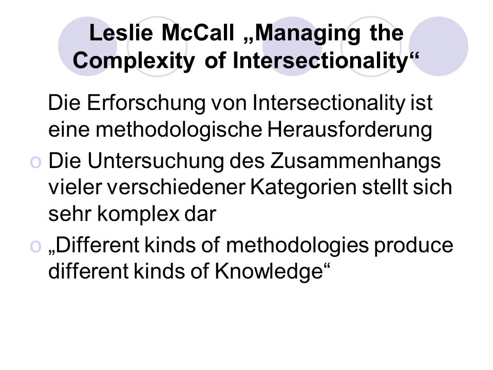 "Leslie McCall ""Managing the Complexity of Intersectionality"
