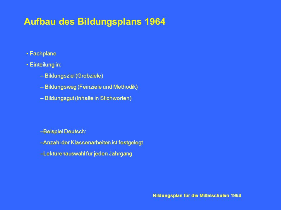 Aufbau des Bildungsplans 1964