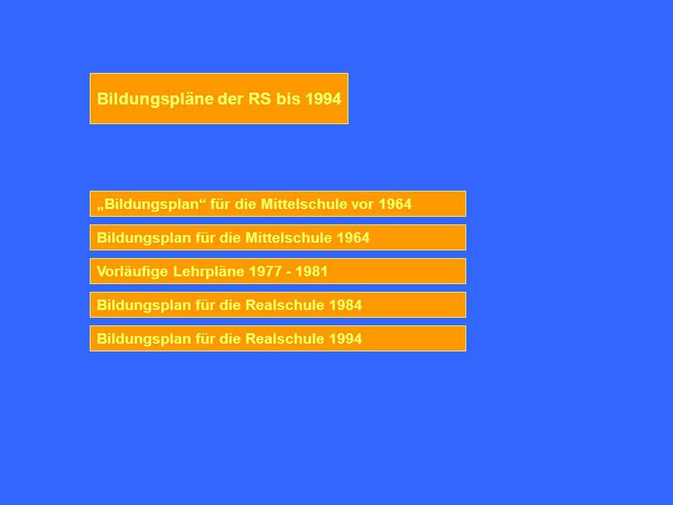 Bildungspläne der RS bis 1994