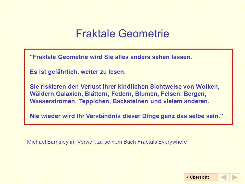 Fraktale Geometrie Fraktale Geometrie wird Sie alles anders sehen lassen. Es ist gefährlich, weiter zu lesen.