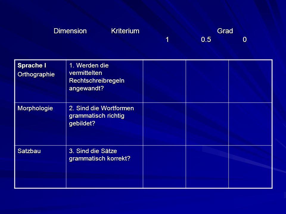 Dimension Kriterium Grad 1 0.5 0