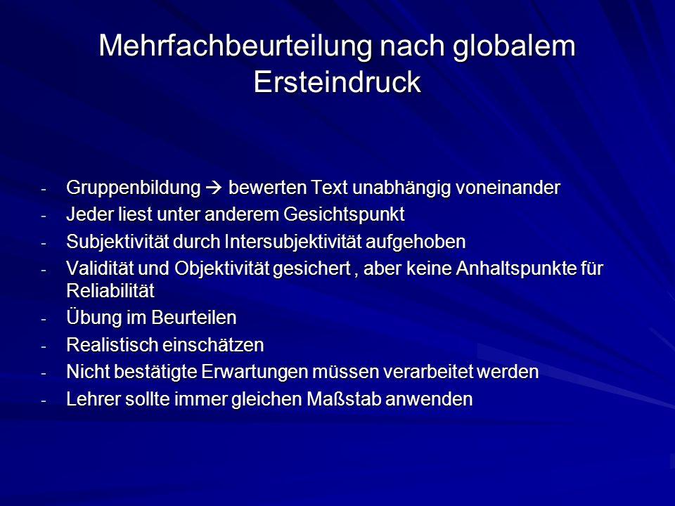 Mehrfachbeurteilung nach globalem Ersteindruck