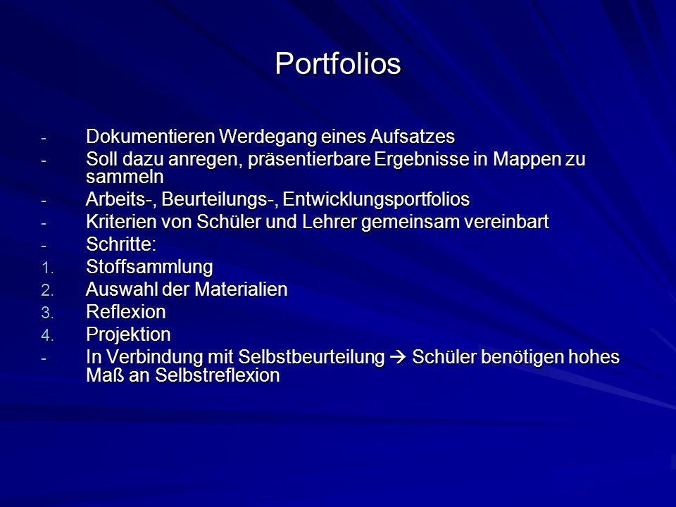 Portfolios Dokumentieren Werdegang eines Aufsatzes