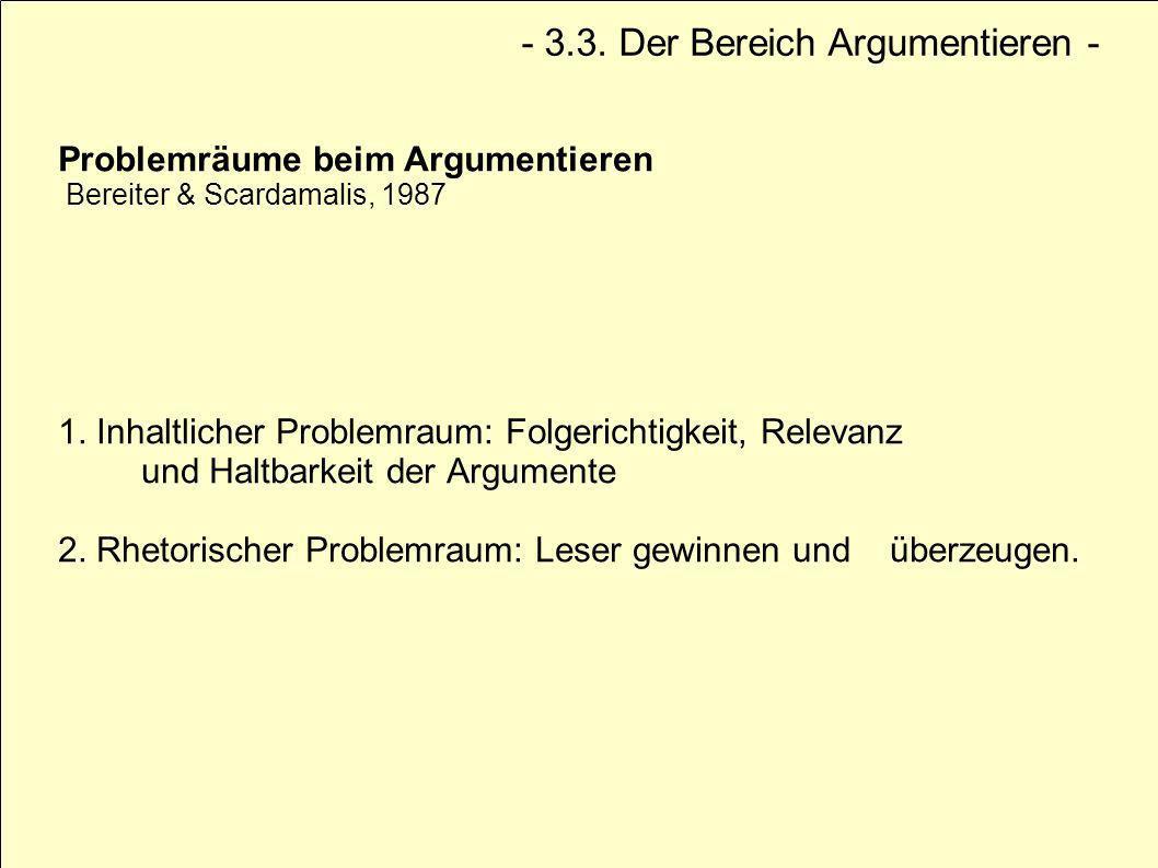 Problemräume beim Argumentieren Bereiter & Scardamalis, 1987