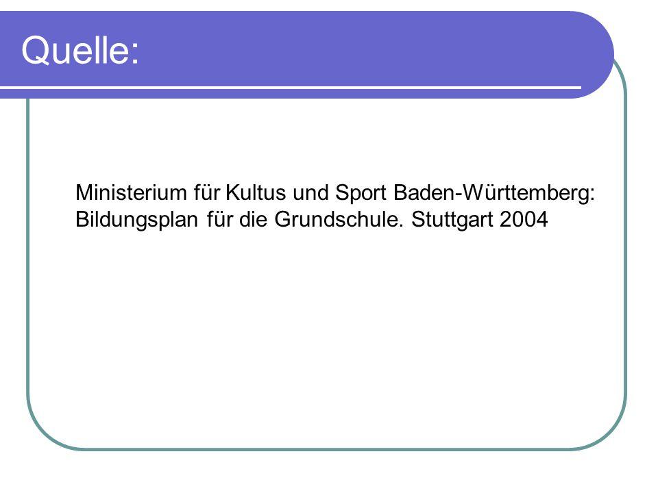 Quelle: Ministerium für Kultus und Sport Baden-Württemberg: Bildungsplan für die Grundschule.