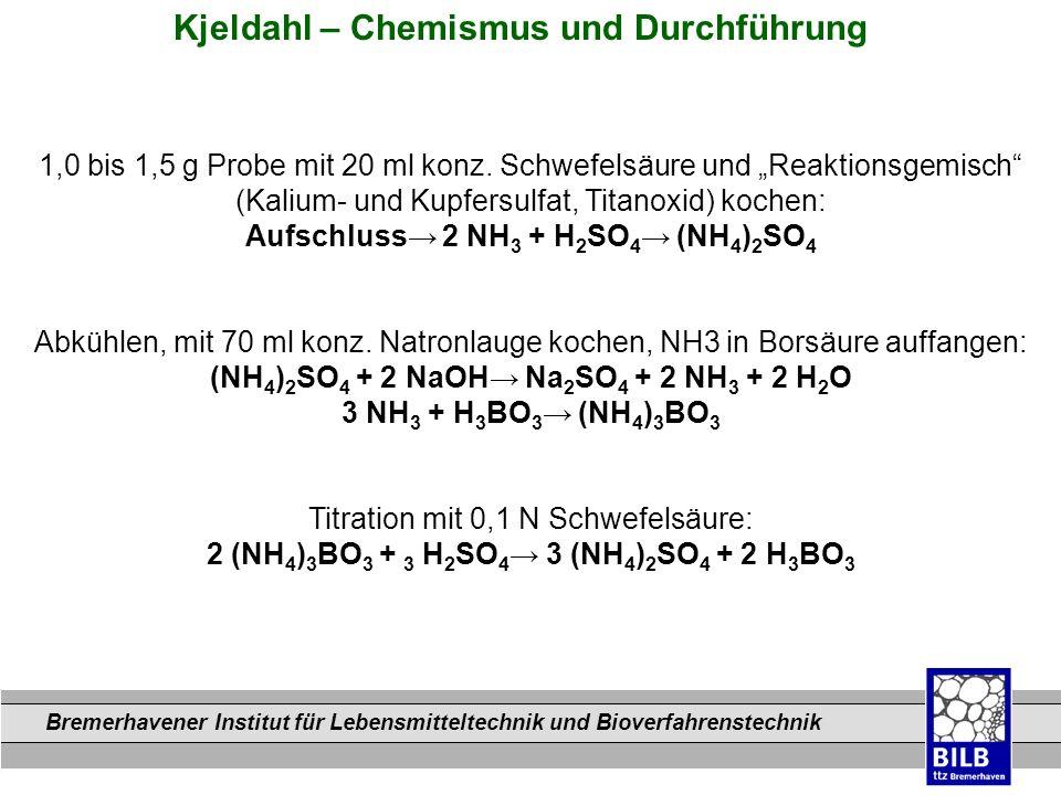 Kjeldahl – Chemismus und Durchführung