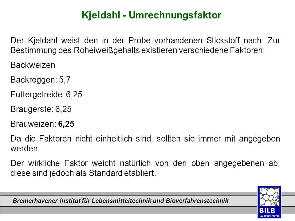 Kjeldahl - Umrechnungsfaktor