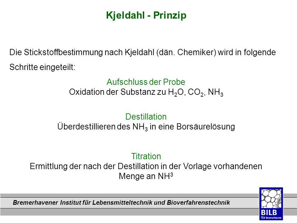 Kjeldahl - Prinzip Die Stickstoffbestimmung nach Kjeldahl (dän. Chemiker) wird in folgende. Schritte eingeteilt: