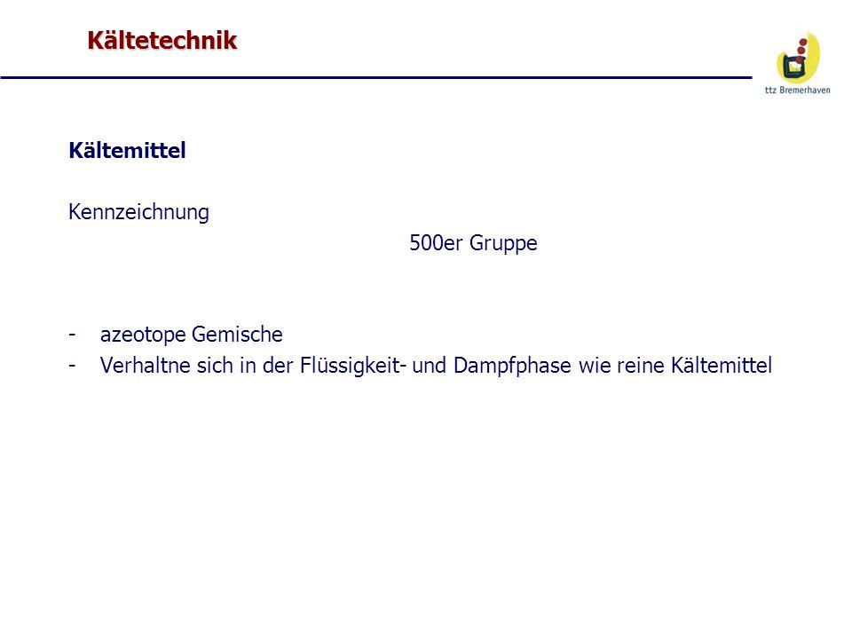 Kältetechnik Kältemittel Kennzeichnung 500er Gruppe azeotope Gemische