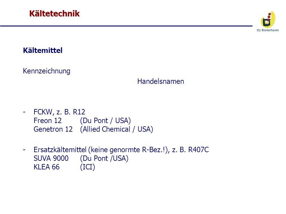 Kältetechnik Kältemittel Kennzeichnung Handelsnamen