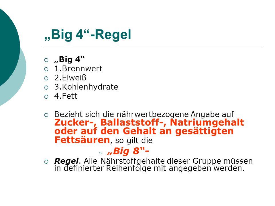 """""""Big 4 -Regel """"Big 4 1.Brennwert 2.Eiweiß 3.Kohlenhydrate 4.Fett"""