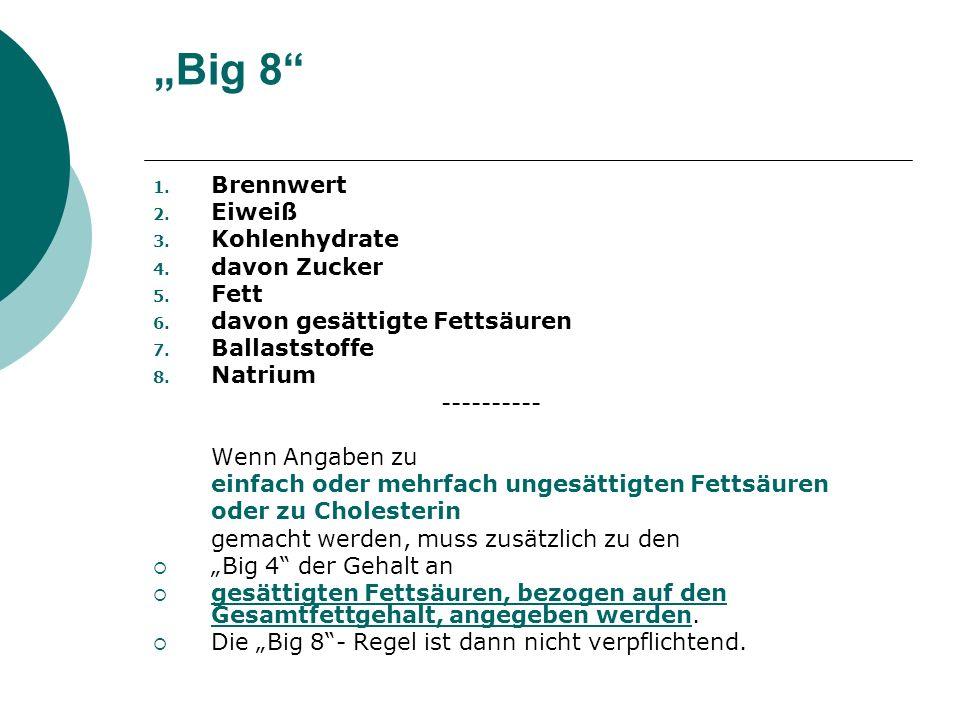 """""""Big 8 Brennwert Eiweiß Kohlenhydrate davon Zucker Fett"""