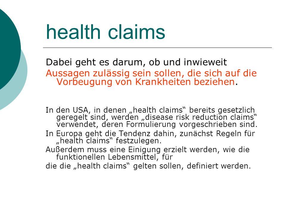 health claims Dabei geht es darum, ob und inwieweit