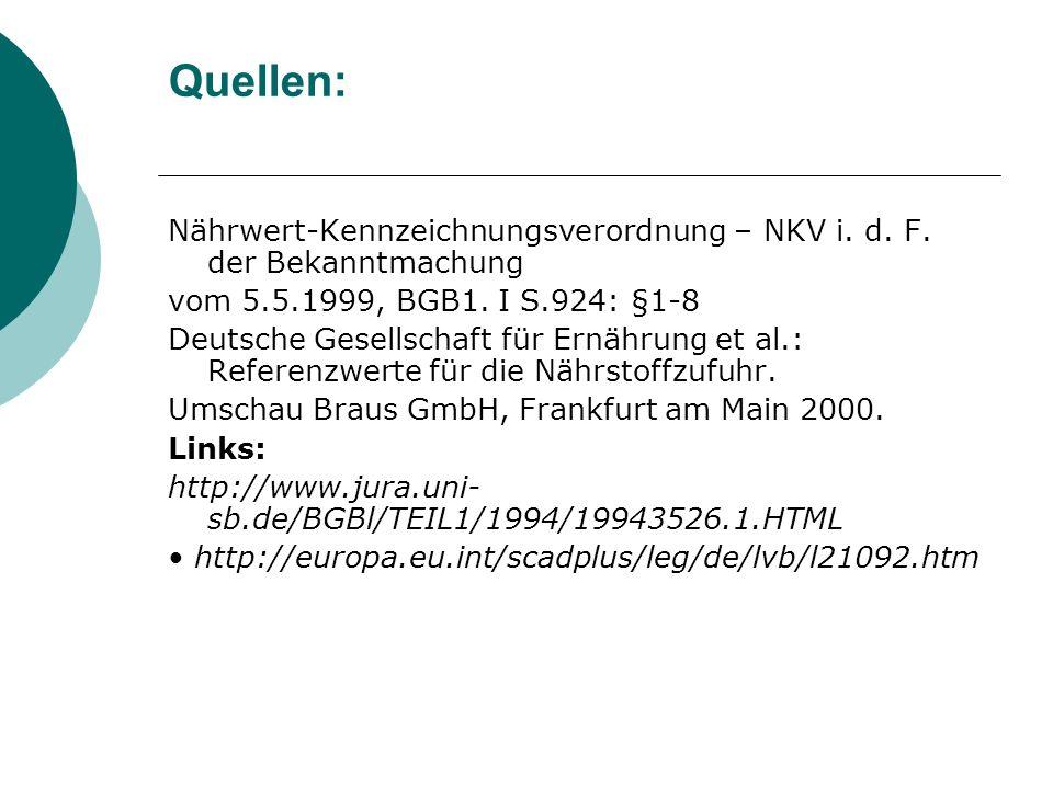 Quellen:Nährwert-Kennzeichnungsverordnung – NKV i. d. F. der Bekanntmachung. vom 5.5.1999, BGB1. I S.924: §1-8.